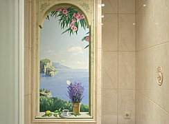 Роспись стены в ванной комнате, СПб