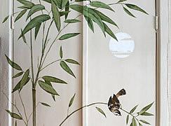 Роспись дверей ниши в комнате. Бамбуковые заросли