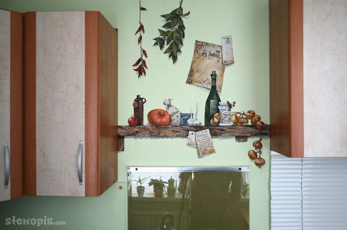 Роспись стен на кухне. фото