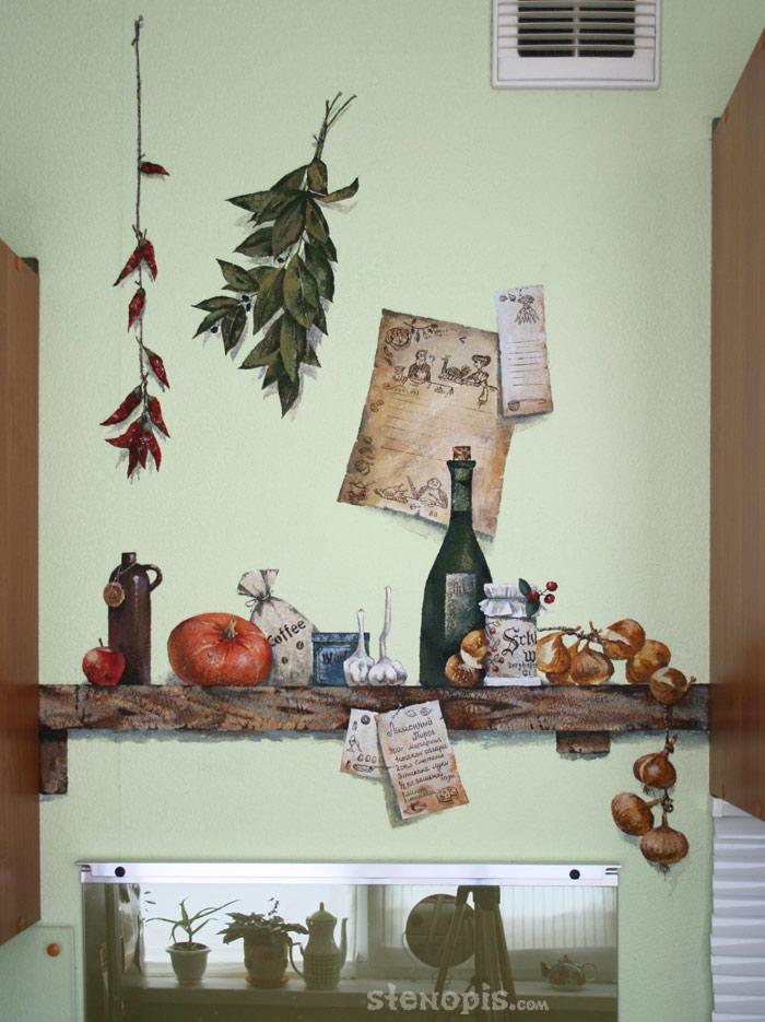 Роспись стен в кухне своими руками 44