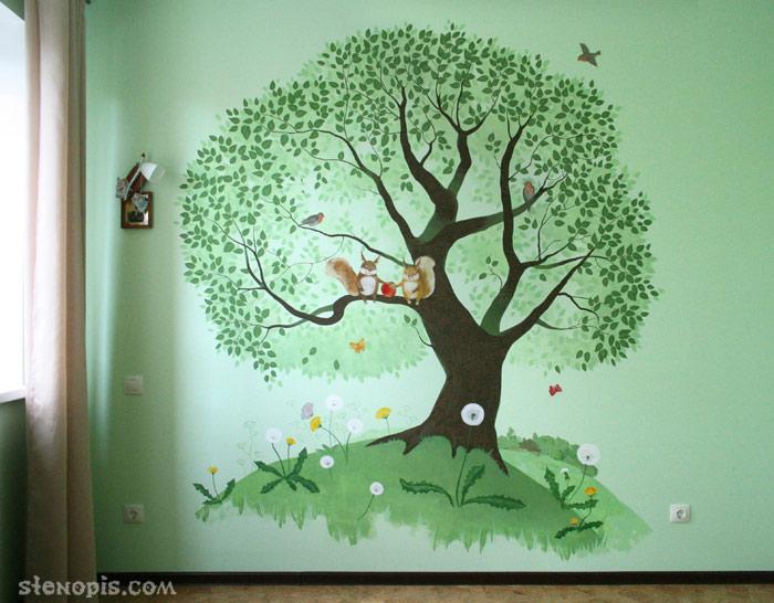 Роспись стены в детской комнате спб