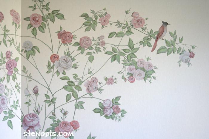цветы роспись стен фото