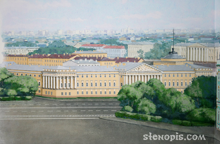 Адмиралтейство в росписи стены
