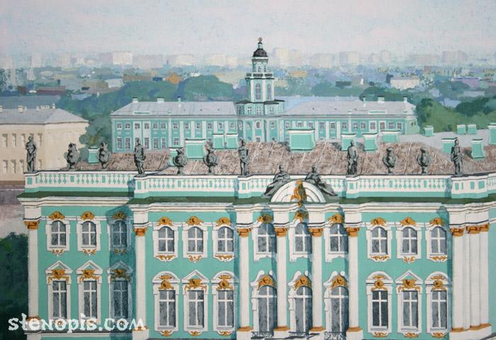 Деталь росписи с Кунсткамерой в СПб