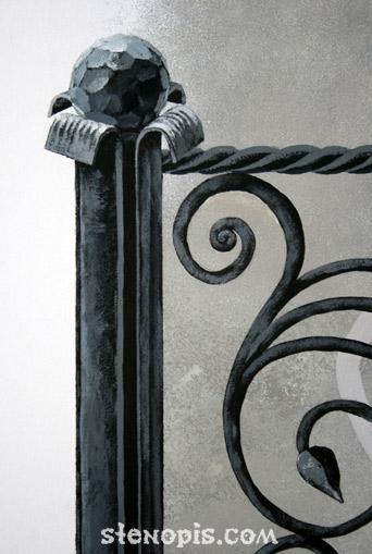 Деталь росписи со столбами решетки